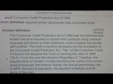 Consumer Credit Protection Act of 1968 CA Real Estate License Exam Top Pass Words VocabUBee.com