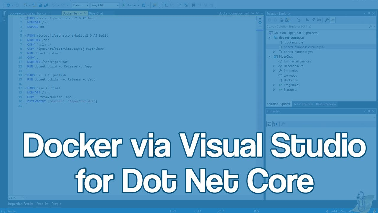 How to work with Docker, Dot Net Core, and Visual Studio