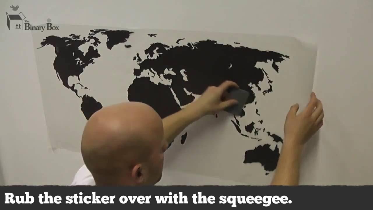 Cartina Mondo Ikea.Wall Stickers Come Applicare La Mappa Del Mondo Youtube