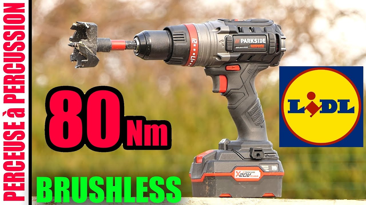 lidl perceuse visseuse a percussion parkside perfornance 80 nm brushless psbsap 20 li a1 combi drill