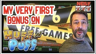 MY VERY FIRST BONUS EVER ON HUFF & PUFF SLOT!! COME ON BIG WINS!!