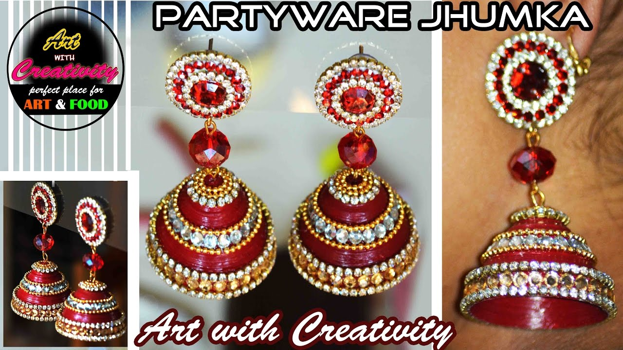 How to make Paper Earrings | made out of paper | Art with ...