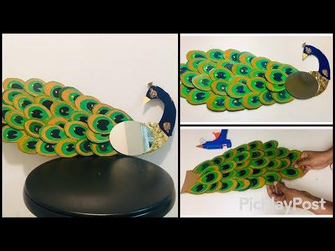 Cardboard peacock mirror diy   wall decor idea   wall hanging diy