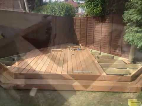Hardwood Decking Being Fitted With Deck Lights By Fedeck