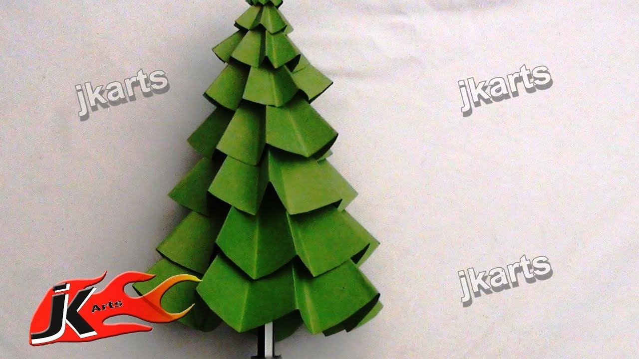 how to make paper christmas tree diy christmas decorations jk arts 082 youtube