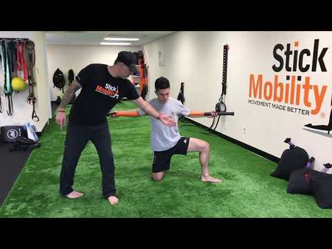 Groin & Rib Cage Opener Adductor Stretch with Hip and T-spine Mobilization Stick Mobility Exercise