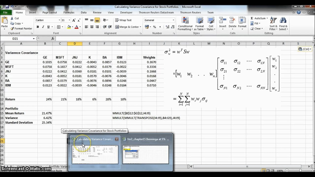 Using The Variance Covariance Matrix To Calculate The Value At Risk Cutoff  Points How To Calculate Standard Deviation