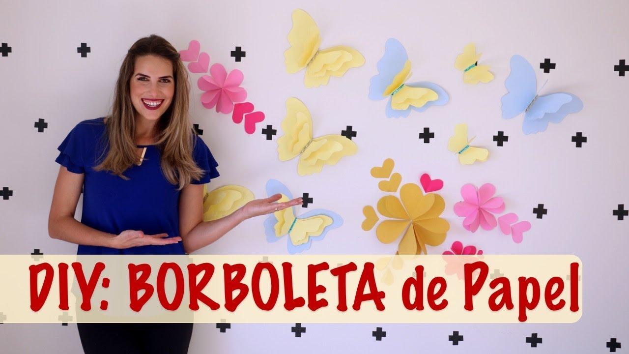 Diy Borboleta De Papelbutterfly Paper Youtube