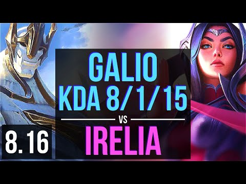 GALIO vs IRELIA (MID) ~ KDA 8/1/15 ~ Korea Challenger ~ Patch 8.16