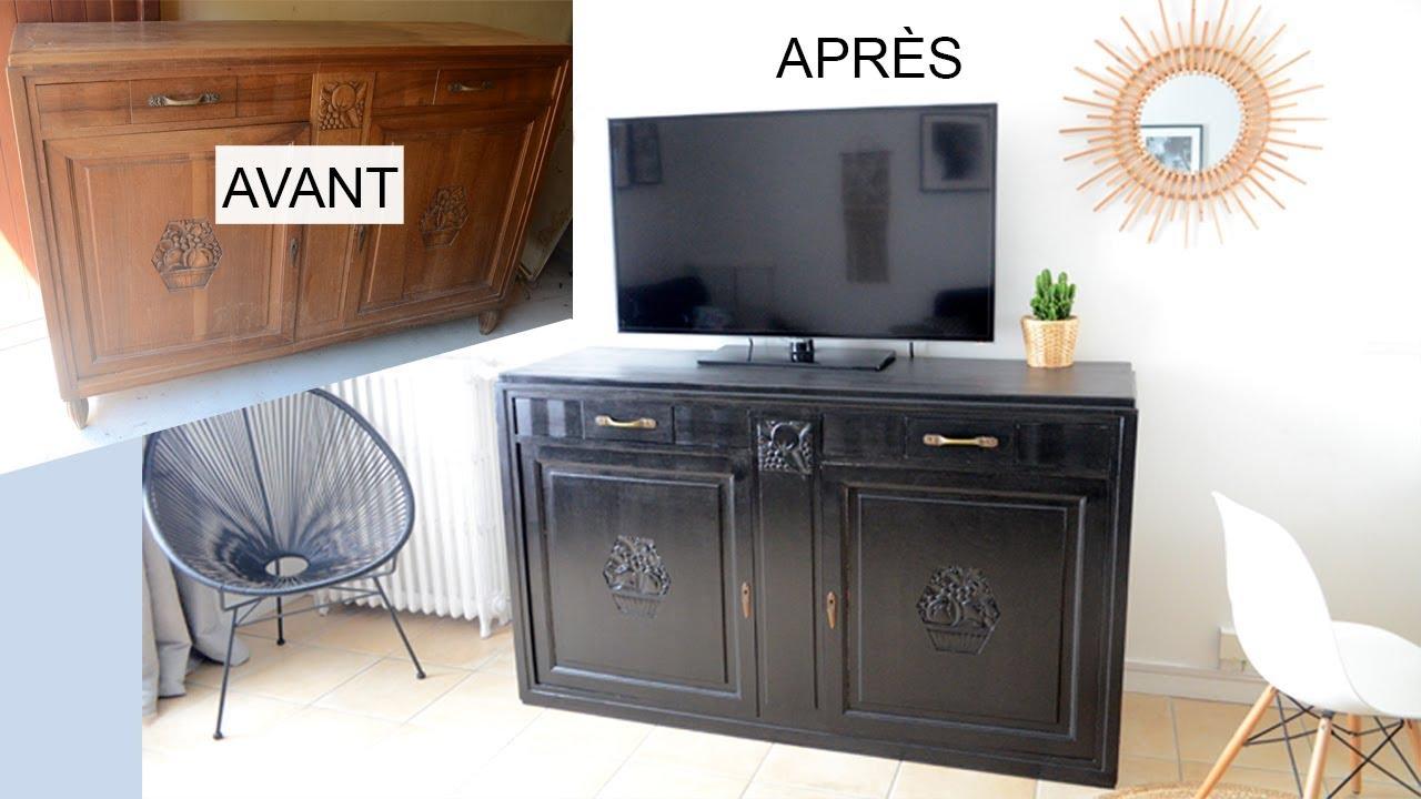 peindre un meuble en noir mat relooking meuble bois ancien