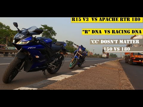 Yamaha R15 V3  Vs Apache RTR 180| R DNA FACE OFF