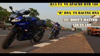 Yamaha R15 V3  Vs Apache RTR 180| R DNA FACE OFF