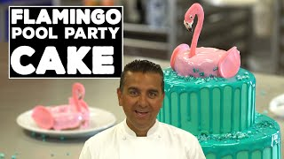 The Cake Boss's Flamingo Pool Party Cake in Under 5 Minutes! | Cool Cakes 04
