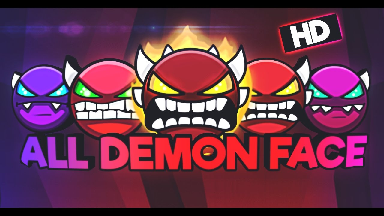 Geometry Dash All Demon Faces By Xirez Youtube