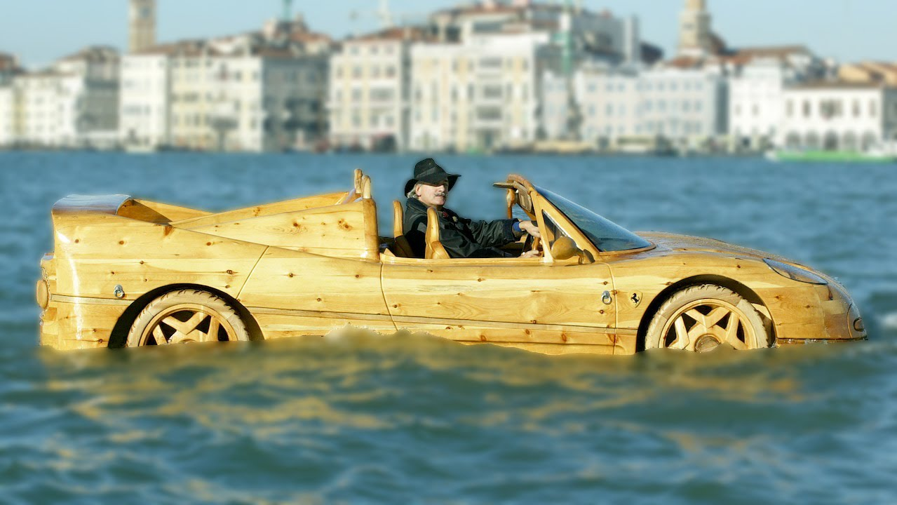 Homemade Wooden Ferrari Makes Waves In Venice - YouTube