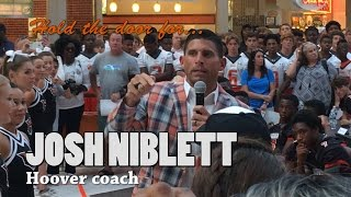 Hoover football coach Josh Niblett leads Fan Day