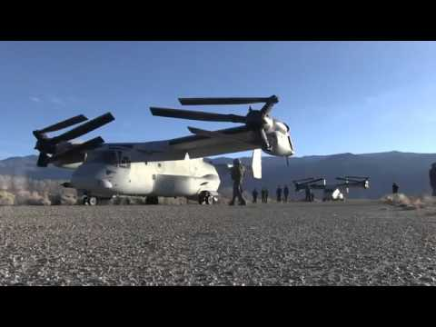 The US Marines Hybrid Transformer Helicopter/Plane in Action V 22 Osprey