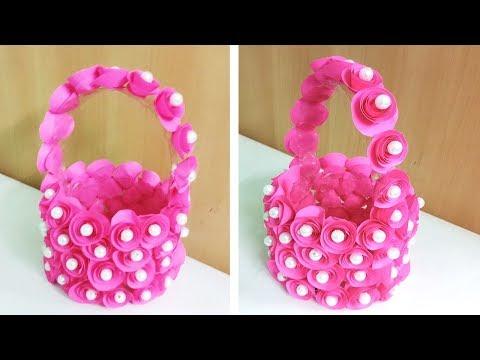 Super Easy Plastic bottle craft idea/Easy DIY Basket/Plastic bottle craft