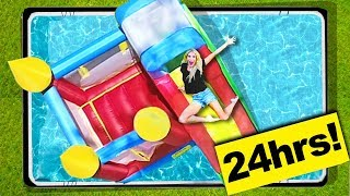 24 Hours Overnight inside a BOUNCE HOUSE in my BACKYARD POOL! | Rebecca Zamolo
