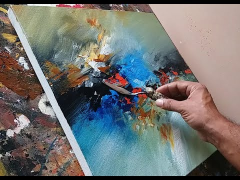 Abstract painting / Blending with brush and palette knife in acrylics / Demonstration