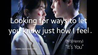 Gambar cover IT'S YOU with lyrics by Henry Ost -While You Were Sleeping.