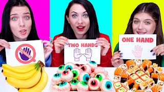 ASMR No Hands vs One Hand vs Two Hands Eating Challenge By LiLiBu
