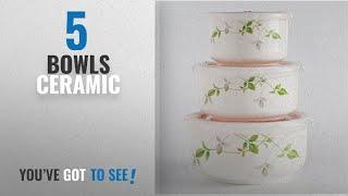 Top 10 Bowls Ceramic [2018]: Blue Birds Serving Bowl With A Unique Floral Design Ceramic Bowl