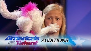 Darci Lynne: 12-Year-Old Singing Ventriloquist Gets Golden Buzzer - America\'s Got Talent 2017