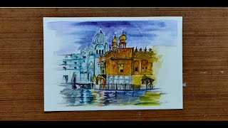 Golden Temple, Amritsar Painting | Watercolors Art Lesson