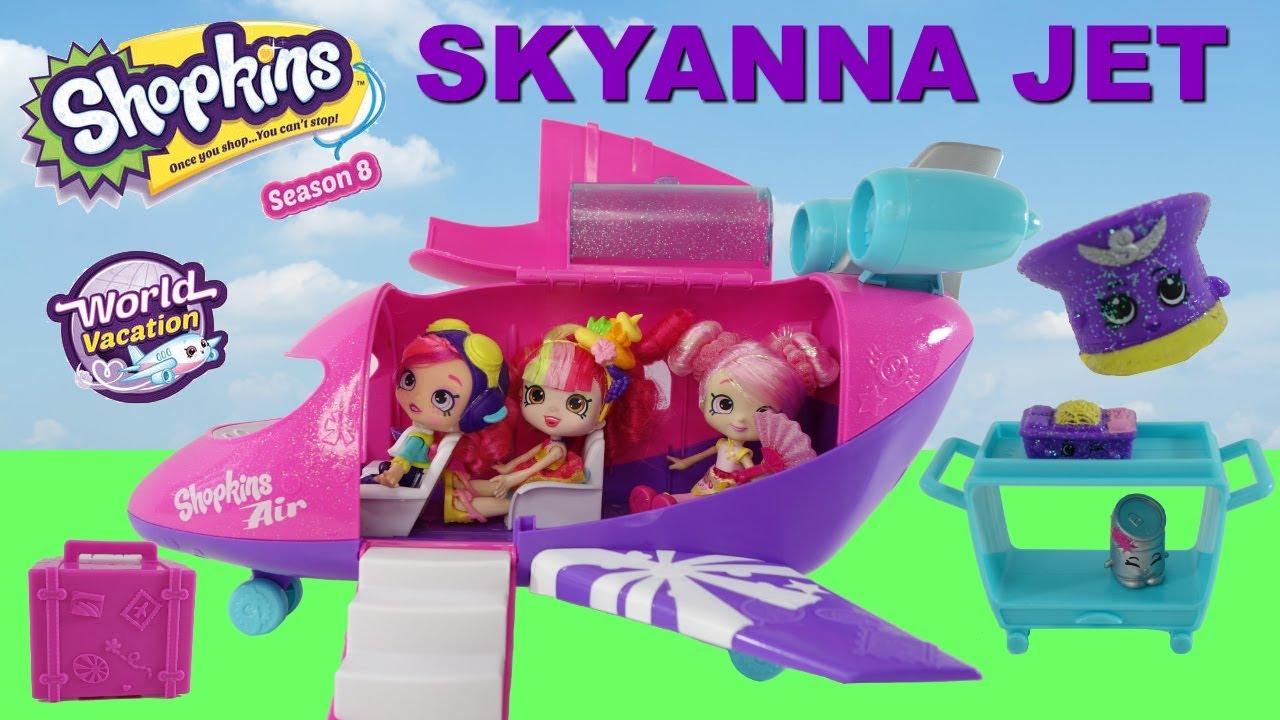 SKYANNA Jet Shopkins Air World Vacation Shoppies Bubbleisha And Donatina