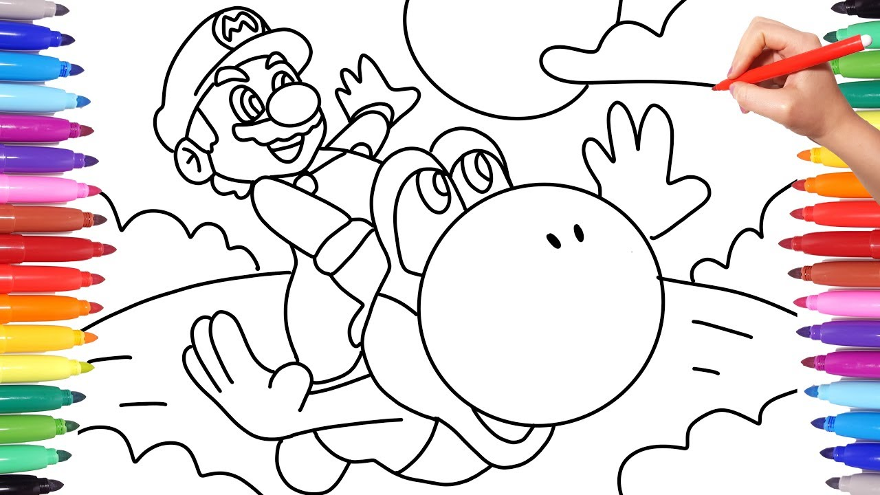 Mario And Yoshi Friends Forever Super Mario Coloring Pages For