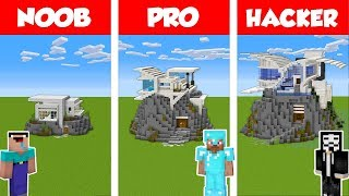 Minecraft NOOB vs PRO vs HACKER: MODERN HILL HOUSE BUILD CHALLENGE in Minecraft / Animation