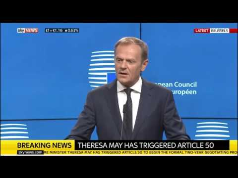 Donald Tusk Press Conference - Responds to Britain Triggering Article 50