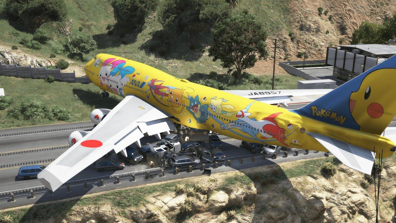 B747 Blocks Highway During Emergency Landing And Causes Massive Pileup | GTA 5