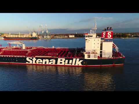 Aerial Drone Video of Oil Chemical Tanker Ship Stena Penguin Delaware River Philadelphia