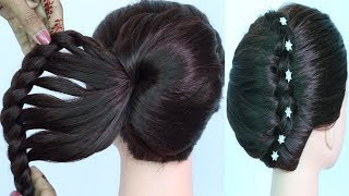 new french bun using clutcher with amazing trick || wedding hairstyles || beautiful hairstyle