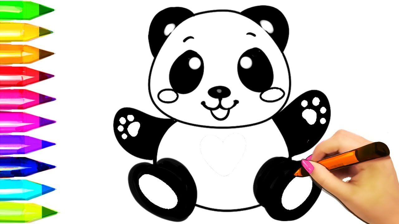 Baby Panda Coloring Pages | Learn Colors for Kids Coloring Book and Peppa  pig drawing