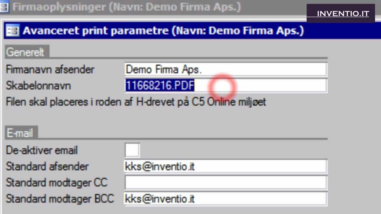 C5online Send Pdf Faktura Fra Microsoft Dynamics C5 Opsætning Af