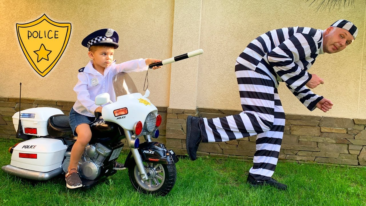 Funny baby Dima pretend play as Cop unboxing power wheels police bike