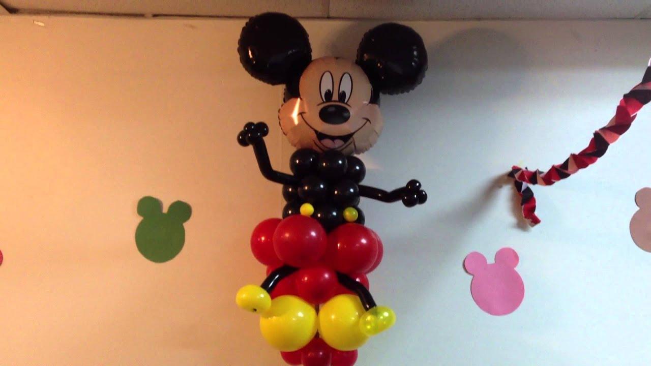 Decoracion con globos de mickey mouse youtube for Adornos navidenos mickey mouse