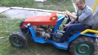 """Самодельный мини-трактор """"Єдиноріг"""" испытание"""