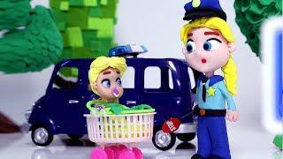 Elsa Police job 💕 Superhero Play Doh Stop motion cartoons for kids