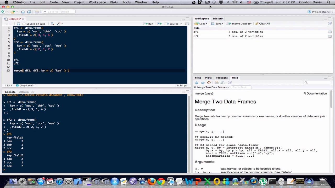 R Programming Tutorial Lesson 16: Merging Data Frames - YouTube