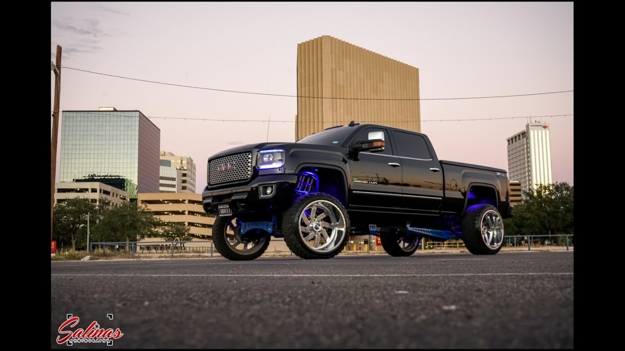"Big lifted GMC Denali 10"" FTS with 26x14 lights up the ..."