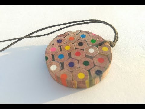 Colour pencils pendant | Epoxy resin and wood pendant necklace