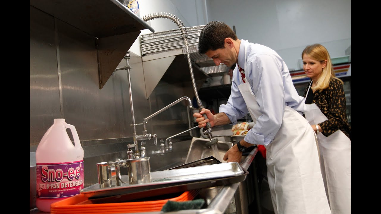 paul ryan caught washing clean dishes in staged photo op