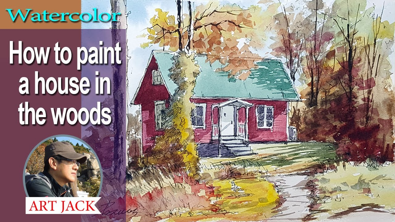 Watercolor | How to paint a house in the woods | Pigment pen sketch watercolor [ART JACK]