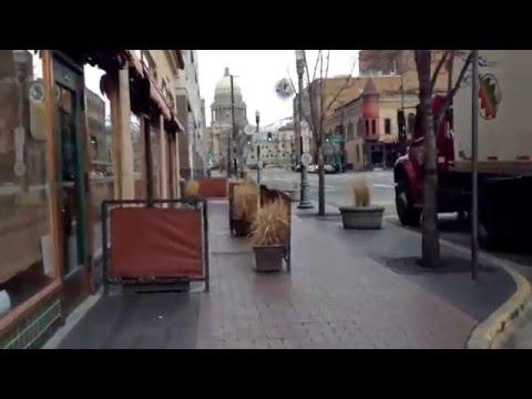 Walk downtown Boise, Idaho; heading towards capital; Enormous construction projects