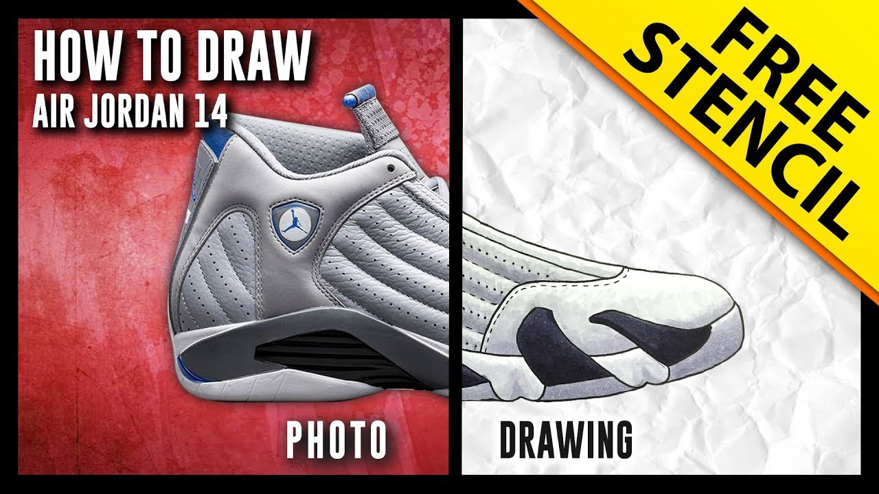sale retailer 414e5 bfb3d HOW TO DRAW  Air Jordan 14 - Step By Step w  FREE Stencil