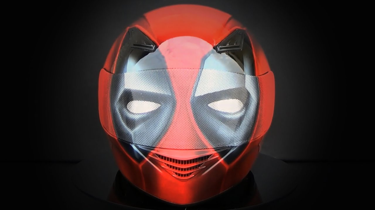 Download Deadpool full face helmet painted by airbrush aerograf - aerografit.pl